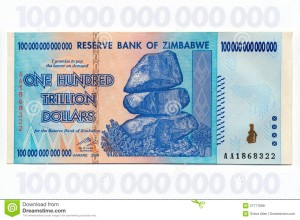 One Hundred Trillion Zimbabwe dollars